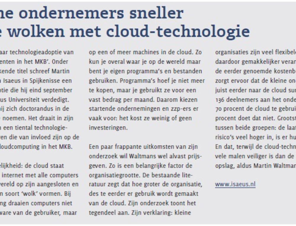 Kleine ondernemers sneller in de wolken met cloud-technologie